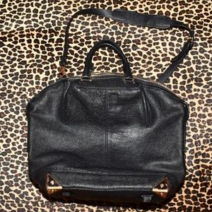 ALEXANDER WANG Black Leather Rose Gold Detail BAG